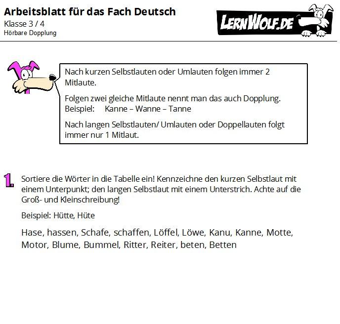 Übungen Deutsch Klasse 3 & 4 kostenlos zum Download - lernwolf.de