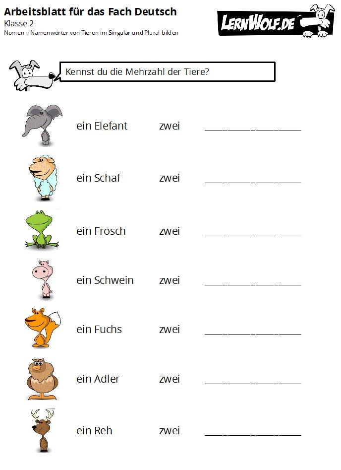 Arbeitsblatt Nomen Plural : Übungen deutsch klasse kostenlos zum download lernwolf