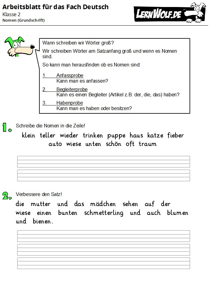 Übungen Deutsch Klasse 2 kostenlos zum Download - lernwolf.de