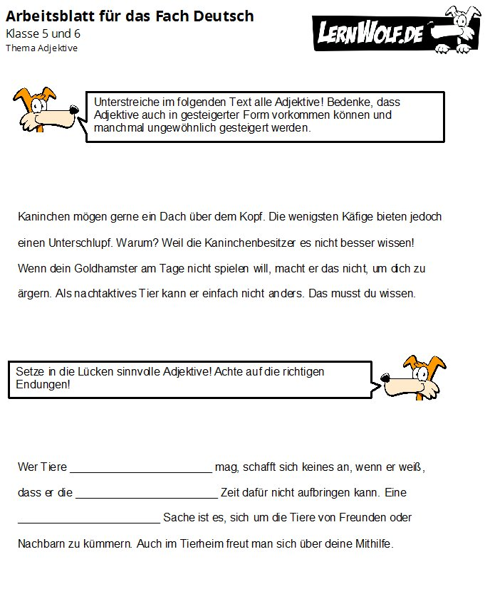 Übungsmaterial für die 5./6. Klasse kostenlos Fach Deutsch - lernwolf.de