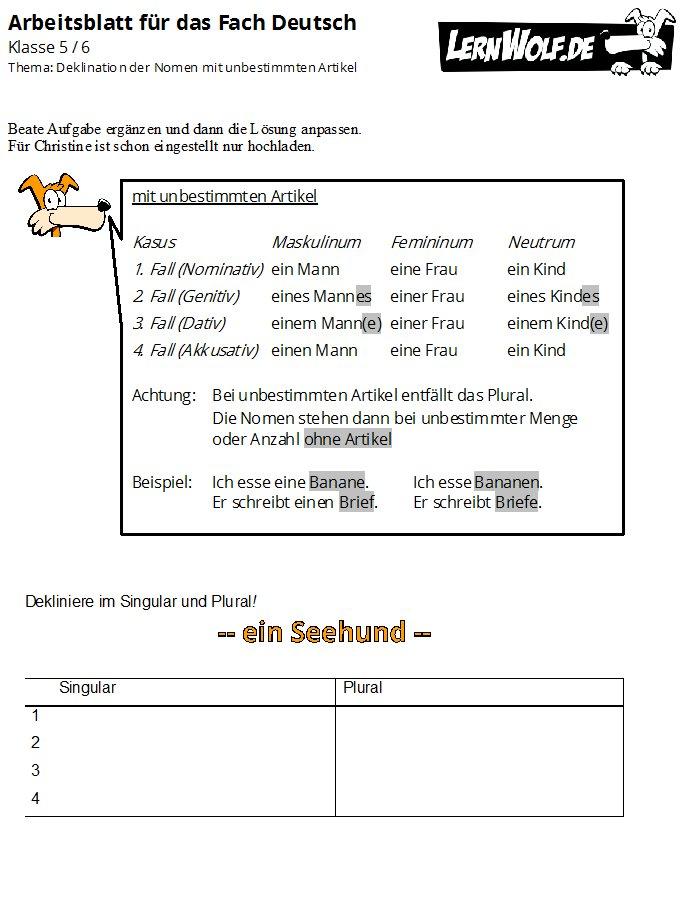 übungsmaterial Für Die 56 Klasse Kostenlos Fach Deutsch