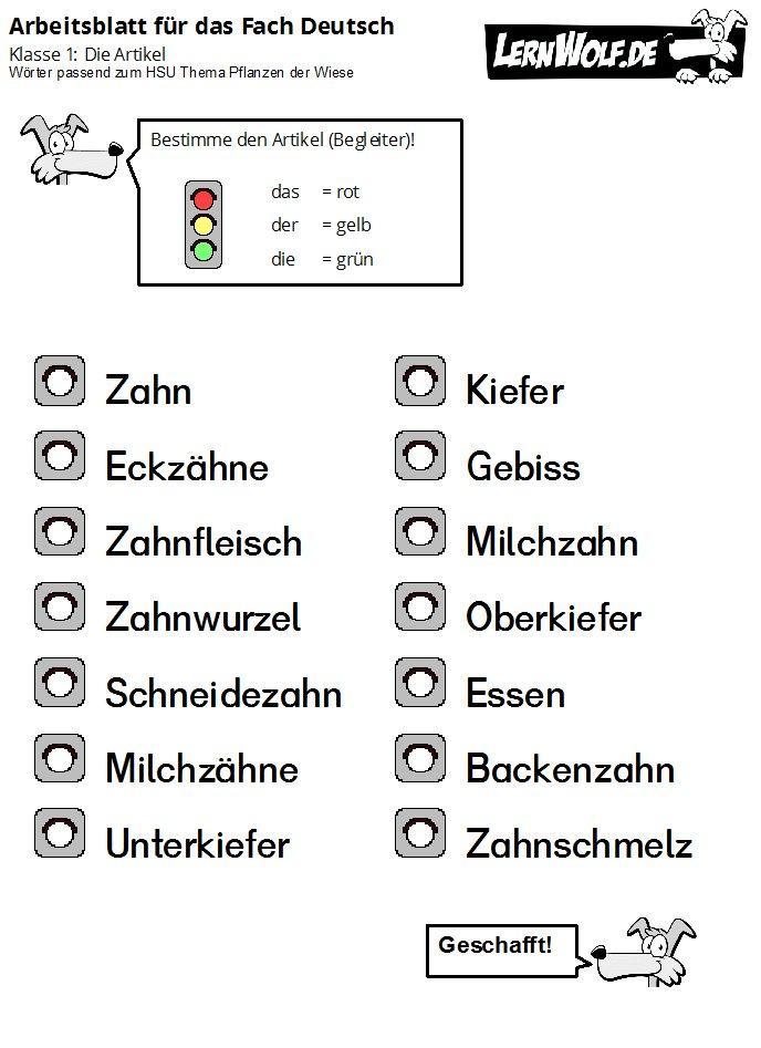 Übungen Deutsch Klasse 1 kostenlos zum Download - lernwolf.de