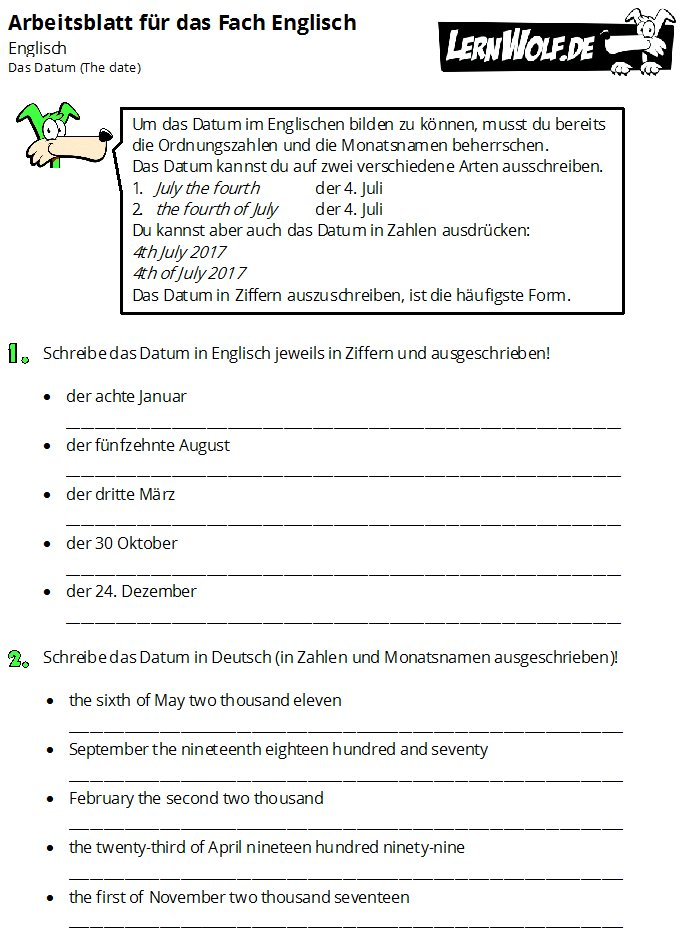 Übungen Englisch Sachthemen kostenlos zum Download - lernwolf.de