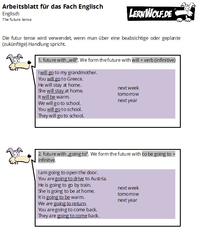 Übungen Englisch Grammatik kostenlos zum Download - lernwolf.de