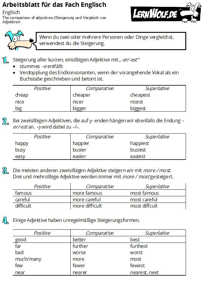 Ausgezeichnet Arbeitsblatt Für Die Vergleichende Und Superlativ ...