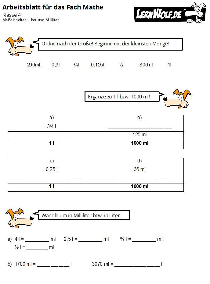 Übungen Mathe Klasse 4 kostenlos zum Download - lernwolf.de