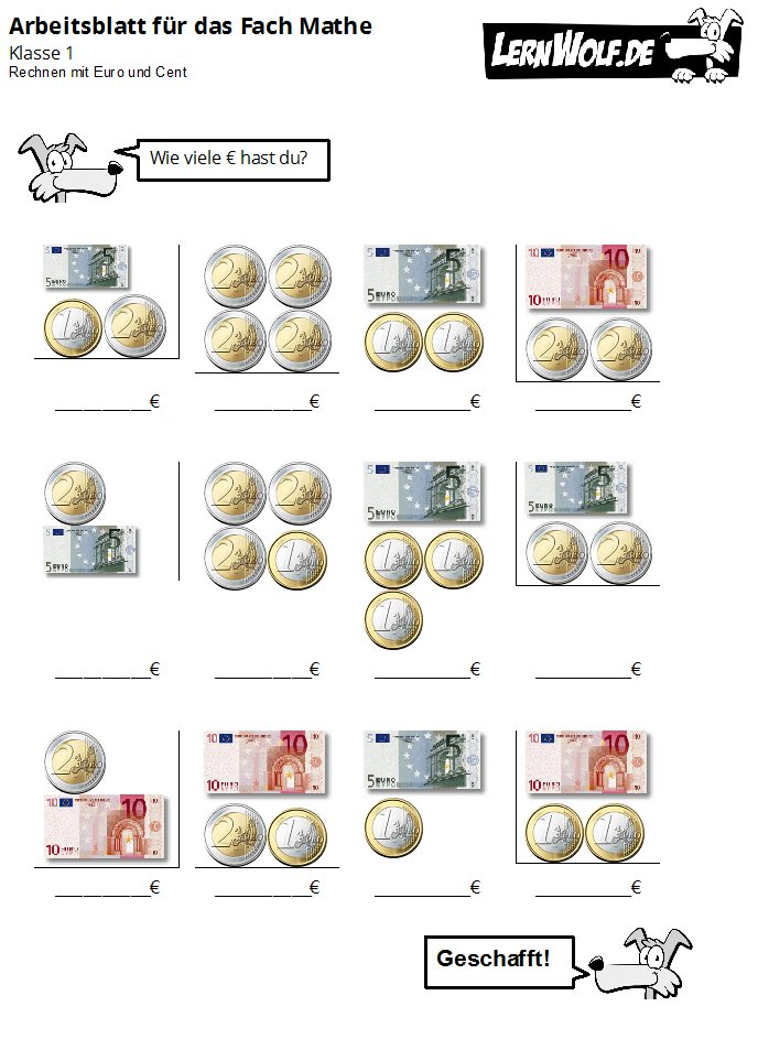 Übungen Mathe Klasse 1 kostenlos zum Download - lernwolf.de