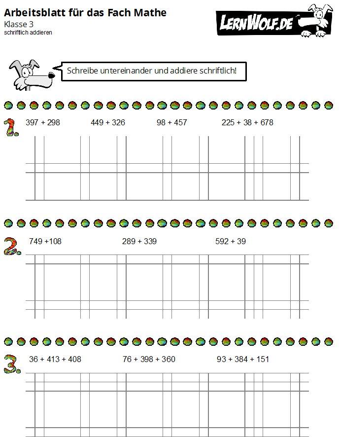 Übungen Mathe Klasse 3 kostenlos zum Download - lernwolf.de
